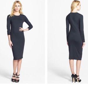 Leith long sleeve black jersey small midi dress